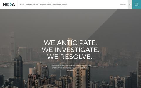 Screenshot of Home Page hka.com - HKA | New Global Brand In Construction Claims & Consulting - captured June 10, 2017