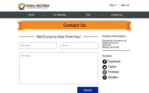 Screenshot of Contact Page connectedcommerce.net - Contact Us - captured Dec. 11, 2015