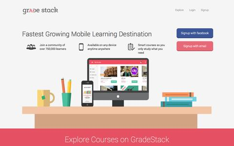 Screenshot of Home Page gradestack.com - GradeStack(GS) Now Learn Courses Of Your Choice On Mobile And Tab - captured Sept. 16, 2014