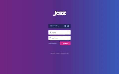 Screenshot of Login Page jazz.co - Sign In - Jazz - captured Oct. 8, 2015