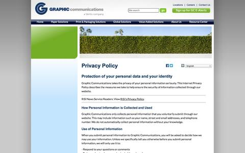 Screenshot of Privacy Page graphiccommunications.com - Graphic Communications Paper Procurement & Print Solutions Website Privacy Policy - captured Sept. 30, 2014