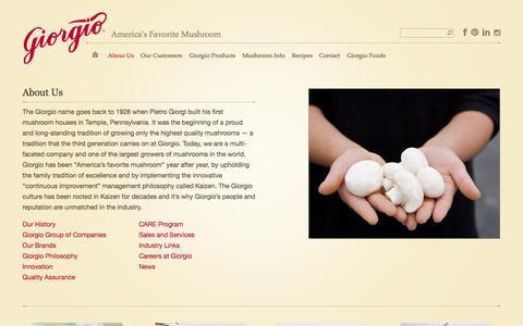 Screenshot of About Page giorgiofresh.com - About Us | Giorgio Fresh Mushrooms - captured Oct. 2, 2014