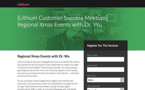 Screenshot of Landing Page lithium.com - Seminar: Dr. Wu's Digital Transformation Xmas Roadshow - captured June 8, 2018