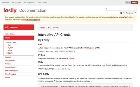 Clients - Fastly API Documentation