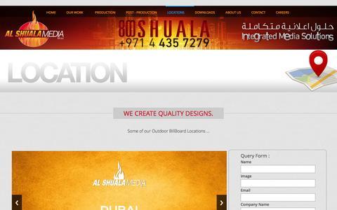 Screenshot of Locations Page alshualamedia.com - Al Shuala Media Dubai UAE - captured Dec. 24, 2015