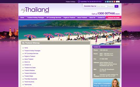 Screenshot of Site Map Page mythailand.com.au - My Thailand Sitemap - captured Oct. 9, 2014