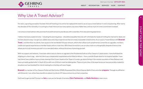 Screenshot of Services Page gehringtravel.com - Travel Advisor | Gehring Travel | A Brownell Virtuoso Agency - captured Dec. 7, 2015