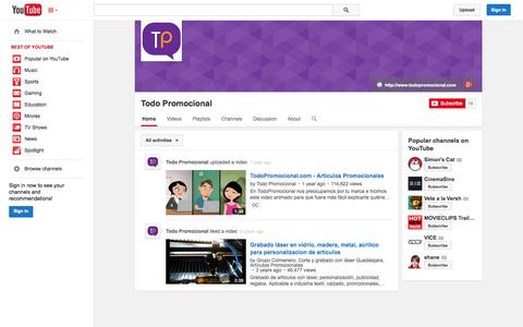Screenshot of YouTube Page youtube.com - Todo Promocional  - YouTube - captured Oct. 25, 2014