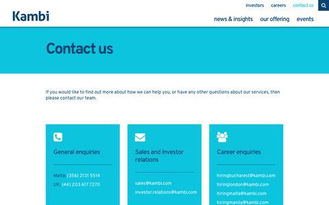 Screenshot of Contact Page kambi.com - Contact us | Kambi - captured Feb. 1, 2018