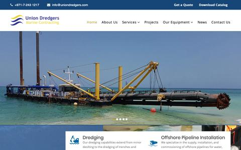 Screenshot of Home Page uniondredgers.com - Dredging | Offshore Pipeline Installation | Marine Construction Services : Union Dredgers - captured Oct. 19, 2018