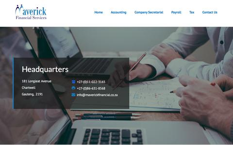 Screenshot of Contact Page maverickfinancial.co.za - Contact Us - Maverick Financial Services - captured Oct. 17, 2017