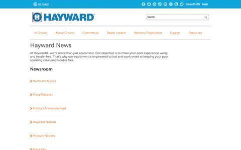 Screenshot of Press Page hayward-pool.com - News | Company Info - Hayward Pool Products - captured March 30, 2018