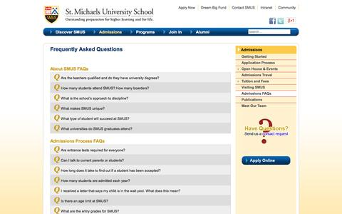 Screenshot of FAQ Page smus.ca - Frequently Asked Questions | SMUS, Victoria BC - captured Oct. 3, 2014