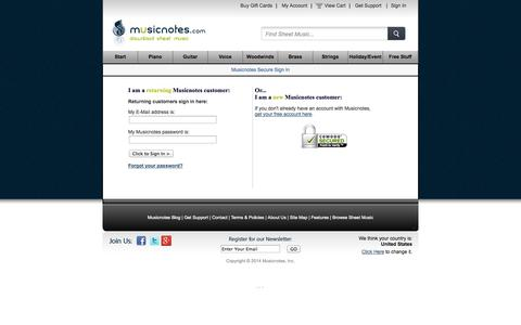 Screenshot of Login Page musicnotes.com - Musicnotes Secure Sign In - captured Oct. 29, 2014