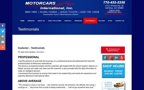 Screenshot of Testimonials Page motorcarsintl.com - Import Auto Repair | Testimonials | Motorcars International | Smyrna GA - captured Nov. 30, 2016