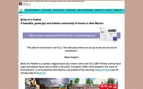 Screenshot of Home Page birdsofafeather.com - Gay & Lesbian (LGBT) Community - Homes for sale - in New Mexico - captured Nov. 22, 2016