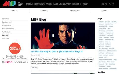 Screenshot of Blog miff.com.au - MIFF Blog | MIFF 2019 - captured July 12, 2019