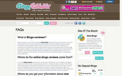Screenshot of FAQ Page bingoreviewer.co.uk - FAQs   Bingo Reviewer - captured Sept. 30, 2014
