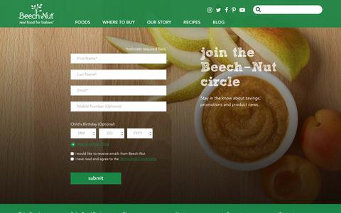 Screenshot of Signup Page beechnut.com - join the Beech‑Nut circle - Beechnut - captured June 21, 2017