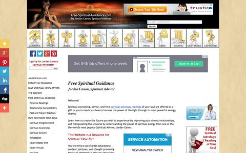 Screenshot of Home Page free-spiritual-guidance.com - Free Spiritual Guidance by Jordan Canon - captured Jan. 26, 2015