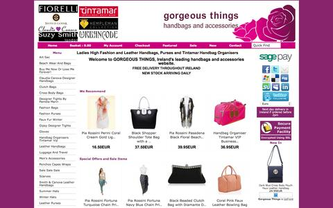 Screenshot of Home Page gorgeousthings.ie - Ladies Leather Handbags Shoulder Evening Clutch - captured Dec. 16, 2015