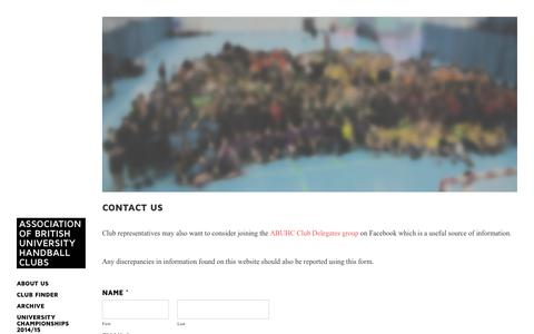 Screenshot of Contact Page abuhc.com - Contact us - Association of British University Handball Clubs - captured Dec. 22, 2015
