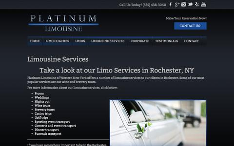 Screenshot of Services Page platinumlimousinewny.com - Limousine Services | Platinum Limousine - captured Aug. 8, 2017