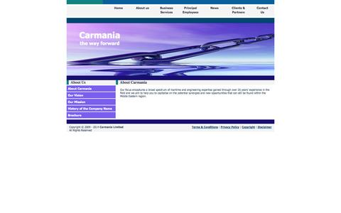 Screenshot of About Page carmania.org.uk - Carmania Limited - Marine Engineering, Business Plans and Reports, Agency Provision - captured Oct. 22, 2014