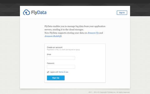 Screenshot of Login Page flydata.com - FlyData  – Start - captured Oct. 28, 2014
