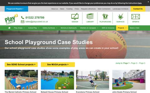 Screenshot of Case Studies Page playcubed.co.uk - School Playground Bespoke Design & Installation | London & South East - captured Dec. 8, 2018