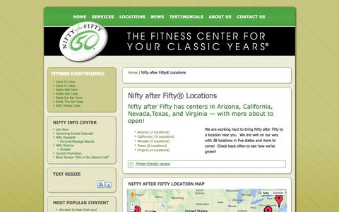 Screenshot of Locations Page niftyafterfifty.com - Nifty after Fifty® Locations | Nifty After Fifty | The Fitness Center For Your Classic Years - captured Sept. 16, 2014