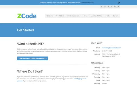 Screenshot of Contact Page zcodemedia.com - ZCode Media Get Started - ZCode Media - captured Oct. 20, 2018