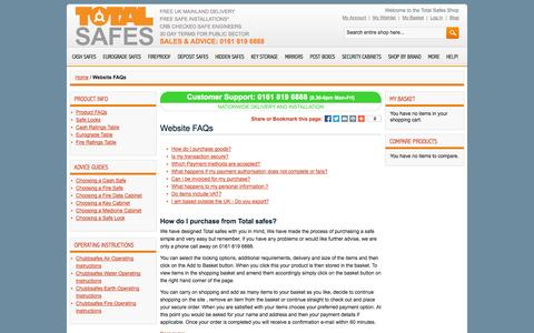 Screenshot of FAQ Page totalsafes.co.uk - Total Safes Frequently Asked Questions - captured Oct. 9, 2014