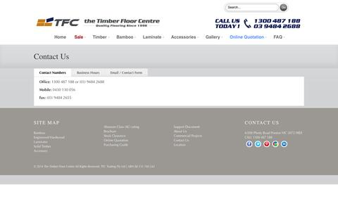 Screenshot of Contact Page timberfloorcentre.com.au - The Timber Floor Centre contact information - captured Oct. 6, 2014