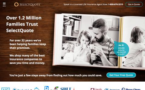 Screenshot of Home Page selectquote.com - Life Insurances - Get A Great Quote On Life Insurance   SelectQuote - captured April 12, 2018