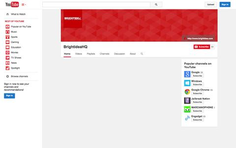 Screenshot of YouTube Page youtube.com - BrightideaHQ  - YouTube - captured Oct. 25, 2014