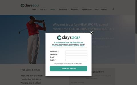 Screenshot of Signup Page claysgolf.co.uk - Get into Golf - Clays Golf - captured Dec. 9, 2015