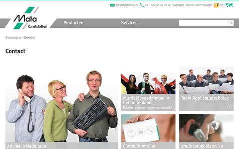 Screenshot of Contact Page mata.nl - Contact / Murtfeldt - Prestaties in kunststoffen. - captured Oct. 17, 2017