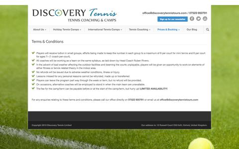 Screenshot of Terms Page discoverytennistours.com - Terms & Conditions - Discovery Tennis - captured Oct. 5, 2014