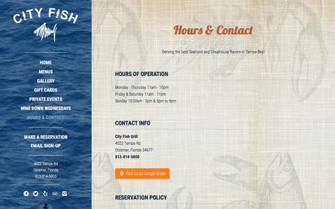 Screenshot of Hours Page cityfishgrill.com - Oldsmar, Florida Restaurant | Hours & Contact | City Fish Grill - captured July 13, 2016