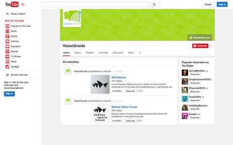 Screenshot of YouTube Page youtube.com - VisionDroide  - YouTube - captured Oct. 26, 2014