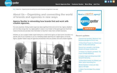 Screenshot of About Page agencyspotter.com - About Us - Agency Spotter - Find Creative Agencies | Agency Spotter Blog - captured Sept. 11, 2014