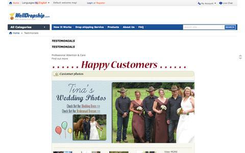 Screenshot of Testimonials Page welldropship.com - Testimonials - captured Oct. 7, 2014