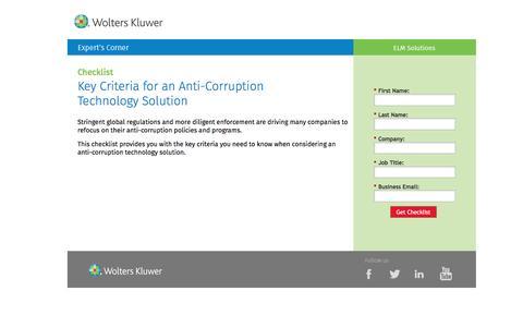Screenshot of Landing Page datacert.com - Checklist: Key Criteria for an Anti-Corruption Technology Solution - captured Aug. 17, 2016