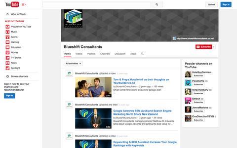 Screenshot of YouTube Page youtube.com - Blueshift Consultants  - YouTube - captured Oct. 23, 2014