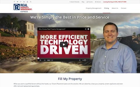 Screenshot of Pricing Page expressrpm.com - Pricing - Real Property Management - captured Oct. 6, 2014