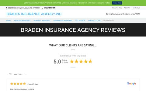 Screenshot of Testimonials Page bradeninsurance.com - Insurance Testimonials, Louisville, KY, Insurance Agency - captured Oct. 31, 2019