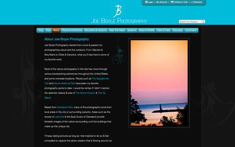 Screenshot of About Page joeboylephotography.com - About Joe Boyle Photography - captured Dec. 10, 2018