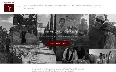 Screenshot of Home Page agencepf.ca - Agence PF - captured July 29, 2018