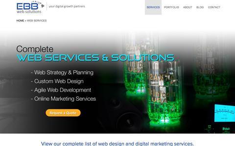 Screenshot of Services Page ebbwebdesign.com - Web Services | EBB Web Solutions - captured Feb. 13, 2017